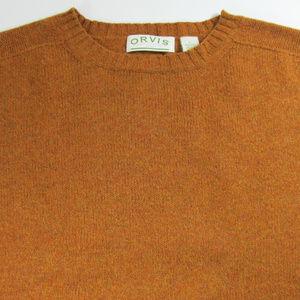 ORVIS WOOL Mens Large Orange Sweater Pullover